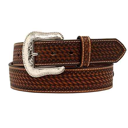 Nocona Basket-Weave Embossed Conchos Belt - Leather (For Men) in Brown - Closeouts