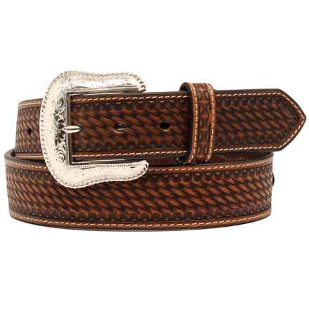 Nocona Basket-Weave Embossed Conchos Belt - Leather (For Men) in Tan - Closeouts