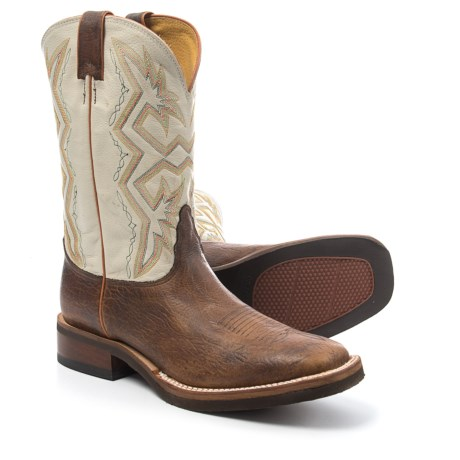 """Nocona Bison Print Cowboy Boots - 11"""", Square Toe (For Men) in Chocolate"""