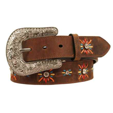 Nocona Bold Lace Starburst Embroidered Belt (For Women) in Brown/Burnt Sienna - Closeouts