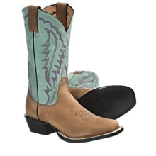 "Nocona Boots 11"" Square Toe Cowboy Boots - Leather (For Women) in Tan/Blue - Closeouts"