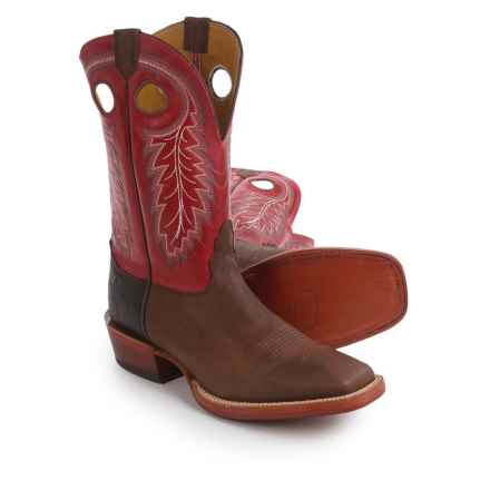"Nocona Caprock Cowboy Boots - 11"", Square Toe (For Men) in Brown/Red - Closeouts"