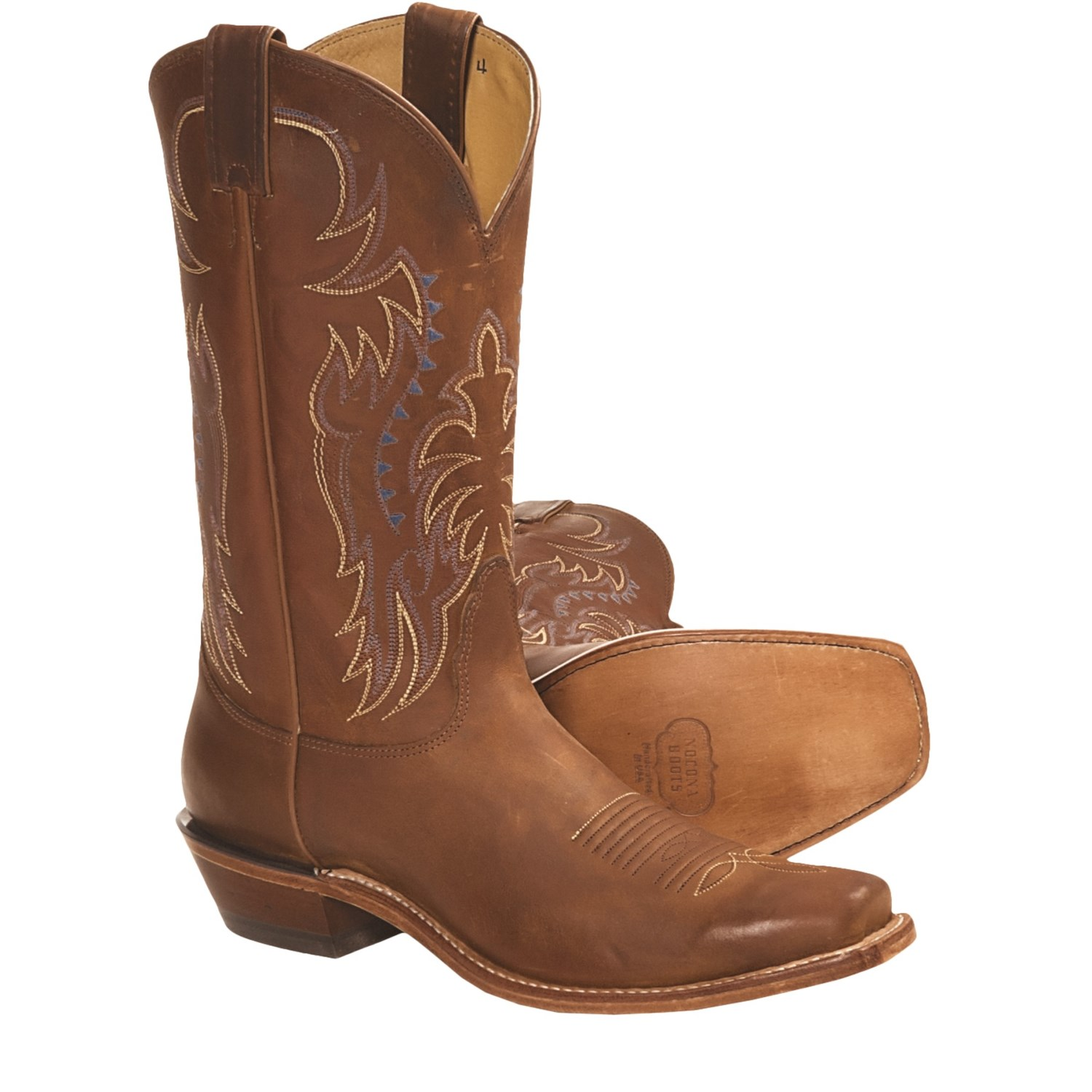 Crazy Horse Leather Cowboy Boots - Square L-Toe (For Men) in Summertan