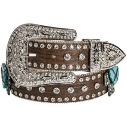 Nocona Crystals & Crosses Belt - Leather (For Women) in Brown