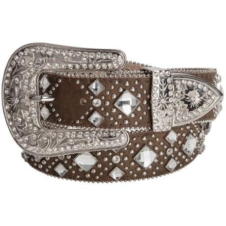 Nocona Diamond Western Belt - Leather (For Women) in Black