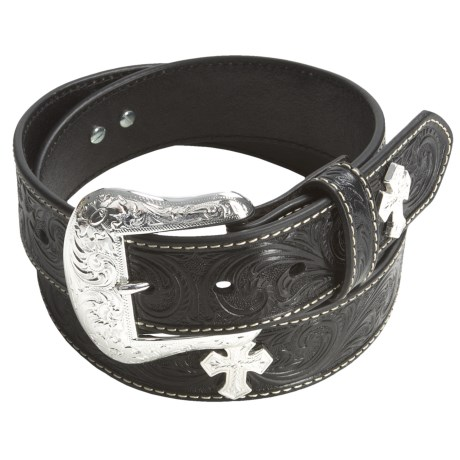 Nocona Floral Tooled Belt - Leather (For Men) in Natural