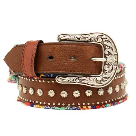 Nocona Frayed Studded Leather Belt (For Women) in Brown - Closeouts
