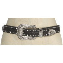 Nocona Gator Print and Crosses Belt - Leather (For Women) in Black - Closeouts