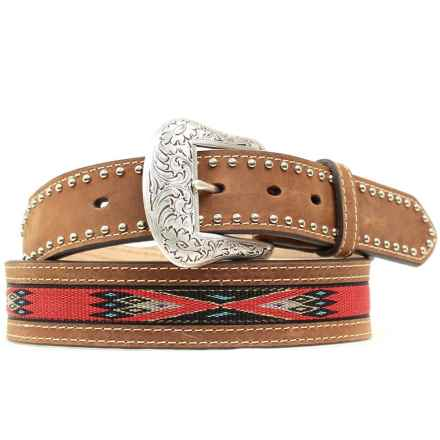 Nocona Handwoven Aztec Belt - Leather (For Men) in Brown/Red - Closeouts