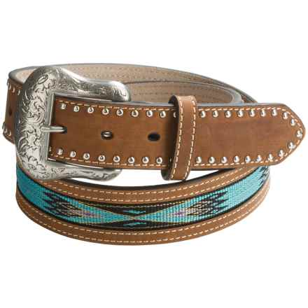 Nocona Handwoven Aztec Belt - Leather (For Men) in Brown/Turquoise - Closeouts