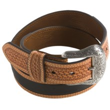 Nocona Ostrich Print Belt - Leather (For Men) in Black - Closeouts
