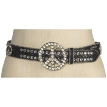 Nocona Peace Buckle Belt - Leather(For Women) in Black - Closeouts
