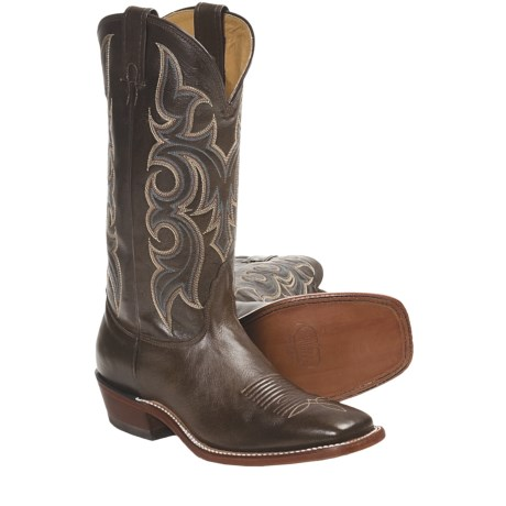 Nocona Plato Calfskin Cowboy Boots - Square Toe, Underslung Heel (For Men) in Brown