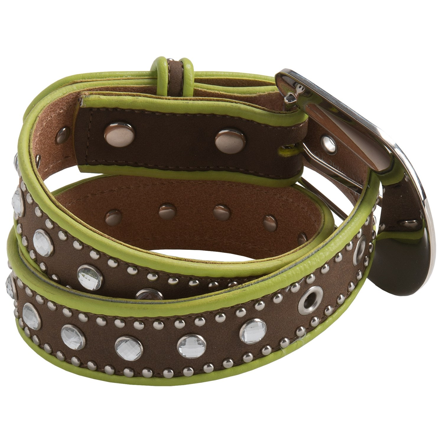 nocona girls A flashy & fun cowgirl belt by nocona crafted of genuine leather in a soft pink hue silver-tone beading trims edges.