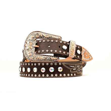 Nocona Rhinestone Wing Inlay Belt - Leather (For Women) in Mocha - Closeouts