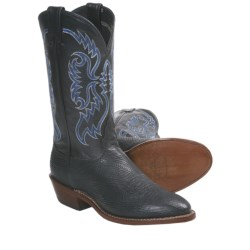 Nocona Shark Skin Cowboy Boots - Round Toe (For Men) in Black
