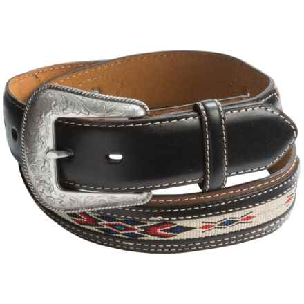 Nocona Southwest Ribbon Belt - Leather (For Men) in Medium Brown - Closeouts