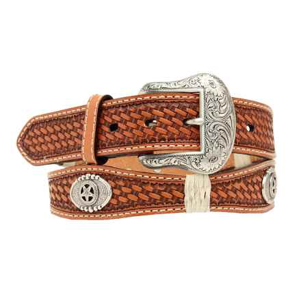 Nocona Star Scallop Leather Belt (For Men) in Natural Tan - Closeouts