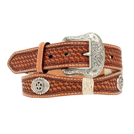 Nocona Star Scallop Leather Belt (For Men)