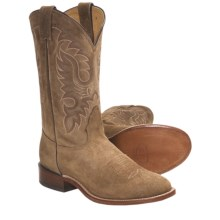 Nocona Waxy Suede Cowboy Boots - Round Toe, Walking Heel (For Men) in Teak - Closeouts