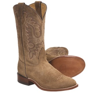 Nocona Waxy Suede Cowboy Boots - Round Toe, Walking Heel (For Men) in Teak