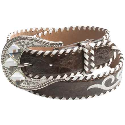 Nocona Whip-Stitched Embroidered Belt - Leather (For Women) in Brown - Closeouts