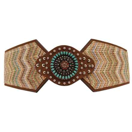 Nocona Wide Chevron Turquoise Belt (For Women) in Turquoise/Brown - Closeouts