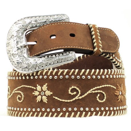 Nocona Wide Leather Embroidered Belt (For Women) in Tan