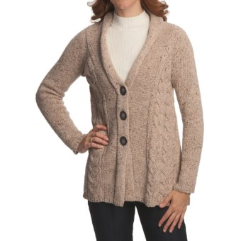 Nomadic Traders Abby Cardigan Sweater - Donegal Cable Knit (For Women) in Oatmeal