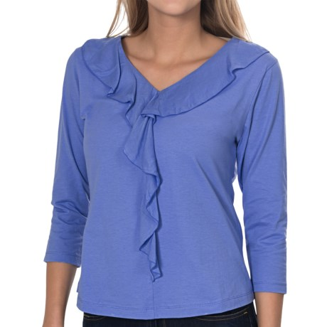 Nomadic Traders Amalfi Knit Ruffle Shirt - 3/4 Sleeve (For Women) in Sherbert