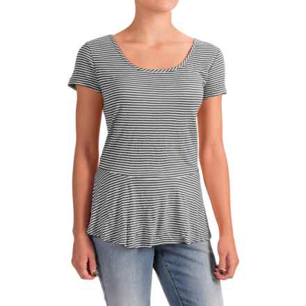 Nomadic Traders Apropos Having a Crush Peplum Shirt - Short Sleeve (For Women) in Black Stripe - Closeouts