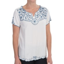 Nomadic Traders Arcadia Tunic Shirt - Scoop Neck, Short Sleeve (For Women) in White/Denim - Closeouts