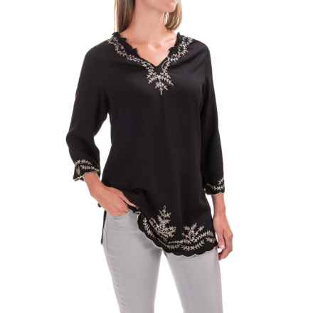 Nomadic Traders Artisan Tunic Shirt - Rayon, 3/4 Sleeve (For Women) in Black/Linen - Closeouts