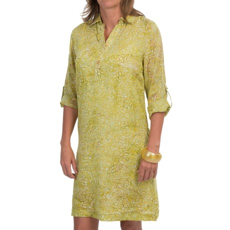 Nomadic Traders Batik Chiffon Shirt Dress 3/4 Sleeve (For Women)