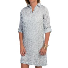 Nomadic Traders Batik Chiffon Shirt Dress - 3/4 Sleeve (For Women) in Silver Daisy - Closeouts