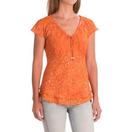 Nomadic Traders Citrus Splash Batik Shirt - Short Sleeve (For Women) in Tangerine - Closeouts