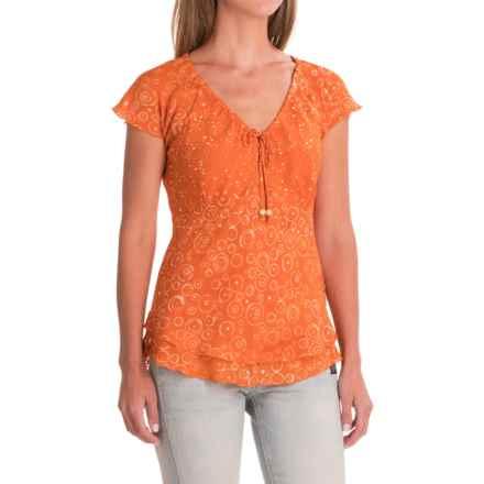 Nomadic Traders Citrus Splash Batik Shirt - Short Sleeve (For Women) in Tangerine - Closeouts