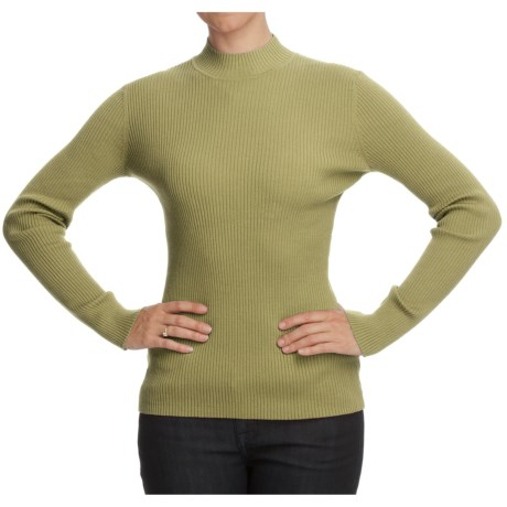 Nomadic Traders Classic Poorboy Sweater - Mock Neck, Long Sleeve (For Women) in Fuchsia