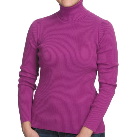Nomadic Traders Classic Poorboy Turtleneck Sweater (For Women) in Fuchsia