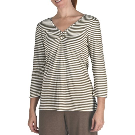 Nomadic Traders Cotton-Micromodal Stripe Tunic Shirt - 3/4 Sleeve (For Women) in Latte