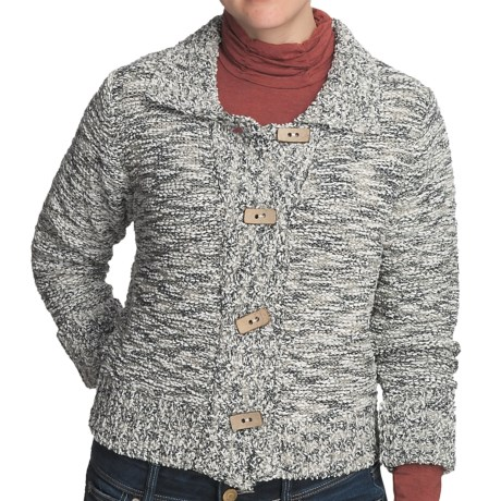 Nomadic Traders Crop Knit Jacket - Button Front (For Women) in Tweed Granite
