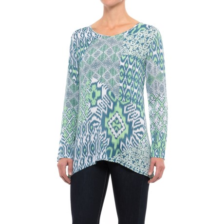 Nomadic Traders Double-V Shirt - Long Sleeve (For Women) in Mint Ikat