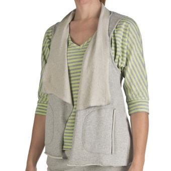 Nomadic Traders Flutter Collar Vest - French Terry (For Women) in Heather Grey