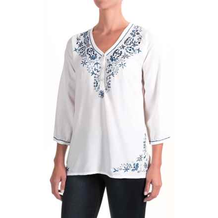 Nomadic Traders Fresco Delfina Shirt - 3/4 Sleeve (For Women) in White/Blue - Closeouts