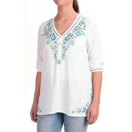 Nomadic Traders Fresco Delfina Shirt - 3/4 Sleeve (For Women) in White/Teal - Closeouts