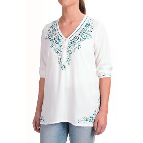 Nomadic Traders Fresco Delfina Shirt - 3/4 Sleeve (For Women) in White/Teal
