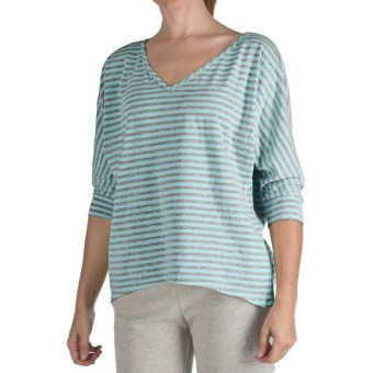 Nomadic Traders Heather Stripe Shirt - 3/4 Sleeve  (For Women) in Seamist