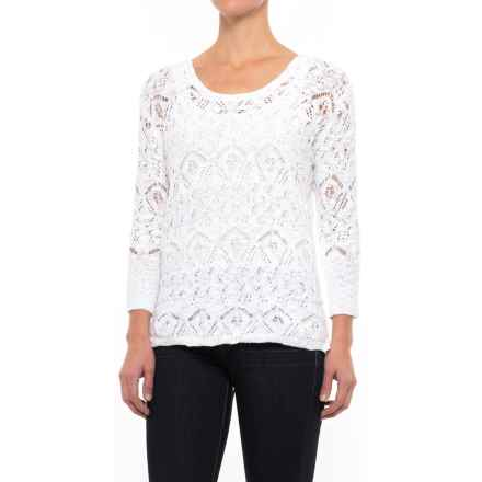 Nomadic Traders High-Low Lacy Knit Sweater - 3/4 Sleeve (For Women) in White - Closeouts