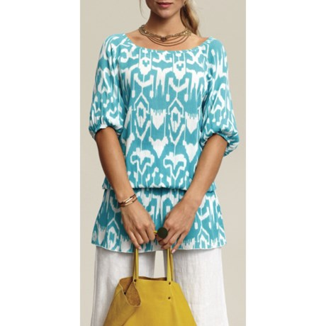 Nomadic Traders Ikat Beachcomber Blouson Tunic Shirt- 3/4 Sleeve (For Women) in Caribbean