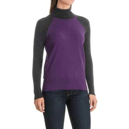 Nomadic Traders Jumpers Color-Block Turtleneck Sweater (For Women) in Damson - Closeouts